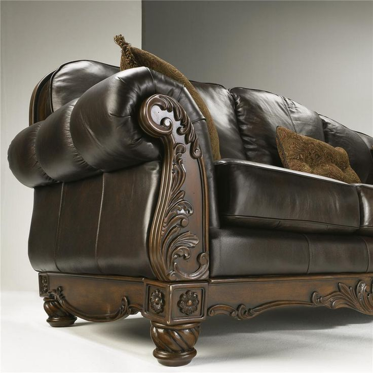 North Shore   Dark Brown Traditional Leather Sofa By Millennium