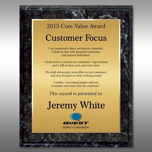 Custom Award Plaque - Marble