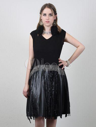 Nero top in chiffon per donna con catene d'oro.