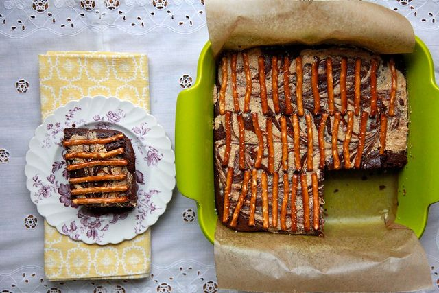 chocolate & peanut butter brownies. with pretzels.