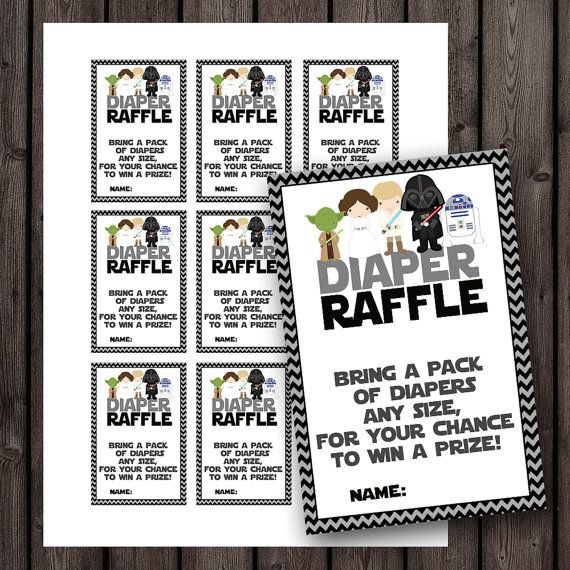 starwars baby shower diaper raffle tickets, star wars baby shower, diaper raffle baby shower game, instant download at purchase