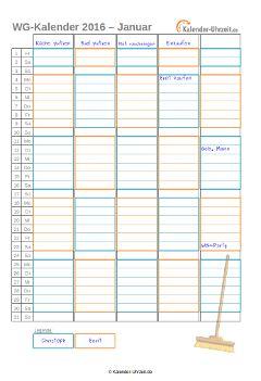 Putzkalender oder WG-Kalender 2016 für 2er WG…