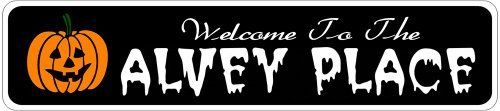 ALVEY PLACE Lastname Halloween Sign - Welcome to Scary Decor, Autumn, Aluminum - 4 x 18 Inches by The Lizton Sign Shop. $12.99. Aluminum Brand New Sign. 4 x 18 Inches. Rounded Corners. Predrillied for Hanging. Great Gift Idea. ALVEY PLACE Lastname Halloween Sign - Welcome to Scary Decor, Autumn, Aluminum 4 x 18 Inches - Aluminum personalized brand new sign for your Autumn and Halloween Decor. Made of aluminum and high quality lettering and graphics. Made to last for years outdoo...