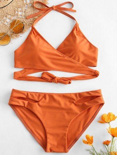 a249221c88d0 [HOT] 2019 ZAFUL Halter Cut Out Wrap Bikini Set In DARK ORANGE S | ZAFUL