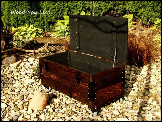 Brown wooden case made from old amunition boxes