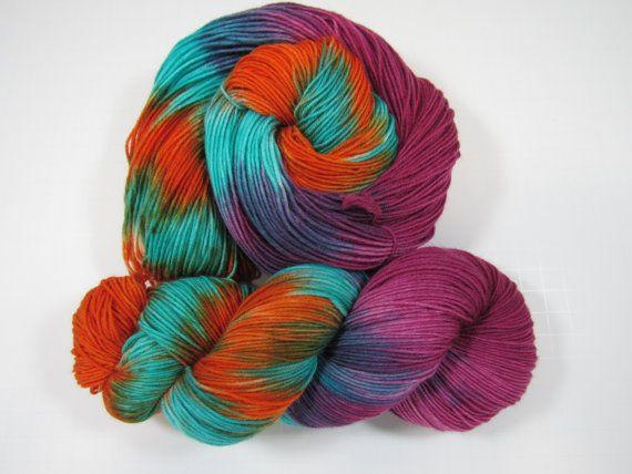 "Hand Dyed, Sock Yarn, 8 ply, Merino, Nylon , Soft  and squishy ,"" Cryptic Writings"""