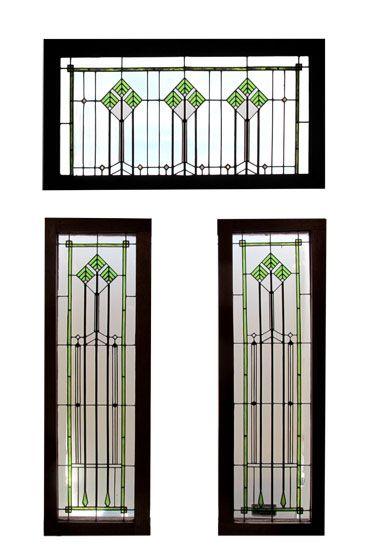 3 Piece Frank Lloyd Wright Style Leaded Glass Windows Transom: 38.5″ tall x 55.5″ wide Side Lights: 64″ tall x 21.75″ wide $3500.