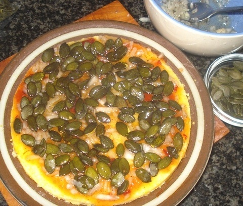 Mexican polenta pizza (would top with refried beans, veggies, salsa ...