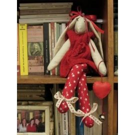 Rabbit Fabric Doll in Red Dress