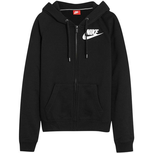 Nike Rally FZ cotton-blend jersey hooded sweatshirt ($39) ❤ liked on Polyvore featuring tops, hoodies, black, nike top, zip hoodies, nike, zip top and zipper top
