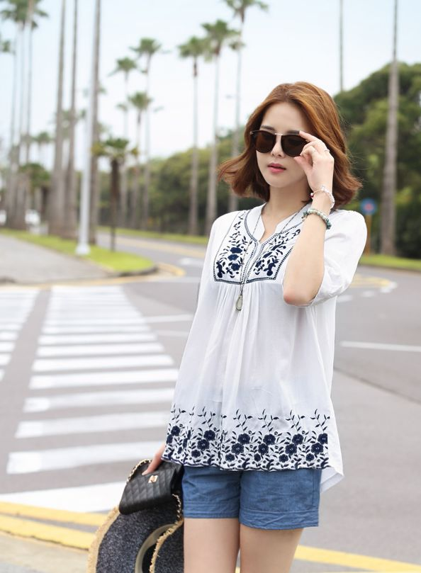 Republic of Korea reigning Women's Clothing Store [CANMART]  #koreafashionshop #fashion_pinter #pinterclothes #pintershop #womenfashion #goodquality #goodfabric #korea #dailylook #dailyfashion #CANMART #OOTD #madam #mam #top #blouse #white #blue #pattern  Cool blue color lovely  embroidery feminine POINT~!  Jelseun embroidery blouse / Size : FREE / Price : 17.68 USD