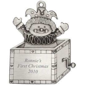 Engraved Jack in the Box Pewter Ornament