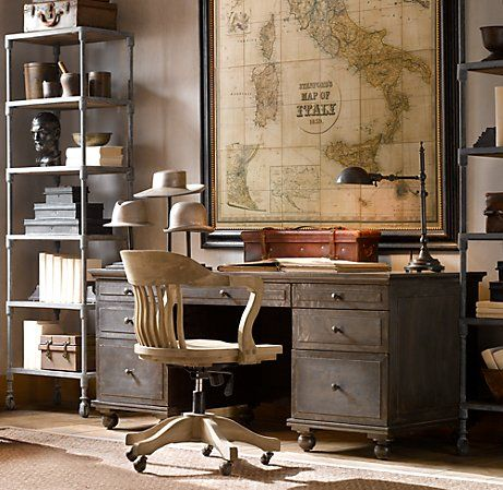 Restoration Hardware Desk Oh I'm lovin' this room. They copy all the good old stuff I've been collecting.