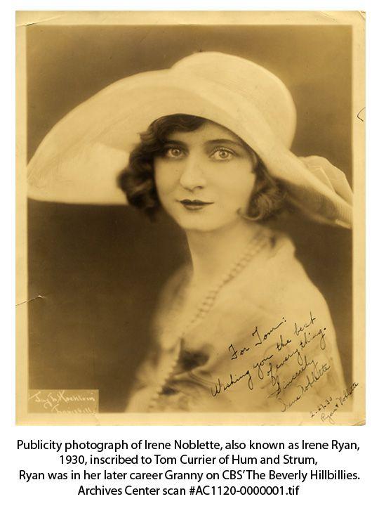 Autographed photograph of vaudeville performer, Irene Noblette aka Irene Ryan.
