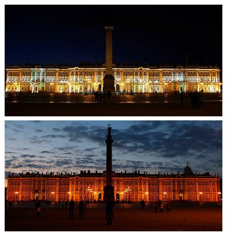 El Museo del Hermitage, en San Petersburgo, Rusia. Apagón mundial en la Hora del Planeta.