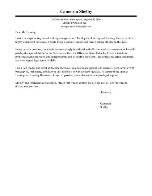 Cover Letter Template Paralegal 1 Cover Letter Template Sample