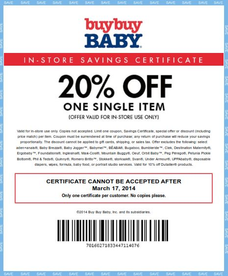 Get 20 percent off one single item at Buy Buy Baby with coupon through March 17. http://www.bestfreestuffguide.com/Free_Buy_Buy_Baby_Coupons_and_Codes