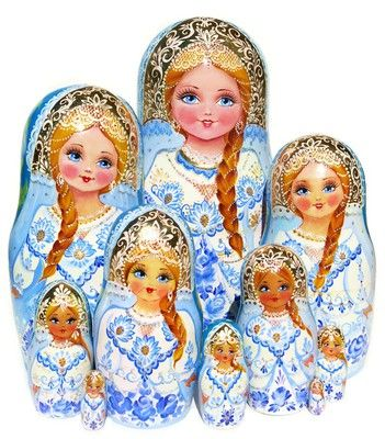 Snow Maiden Nesting Doll 10-Piece Babushka