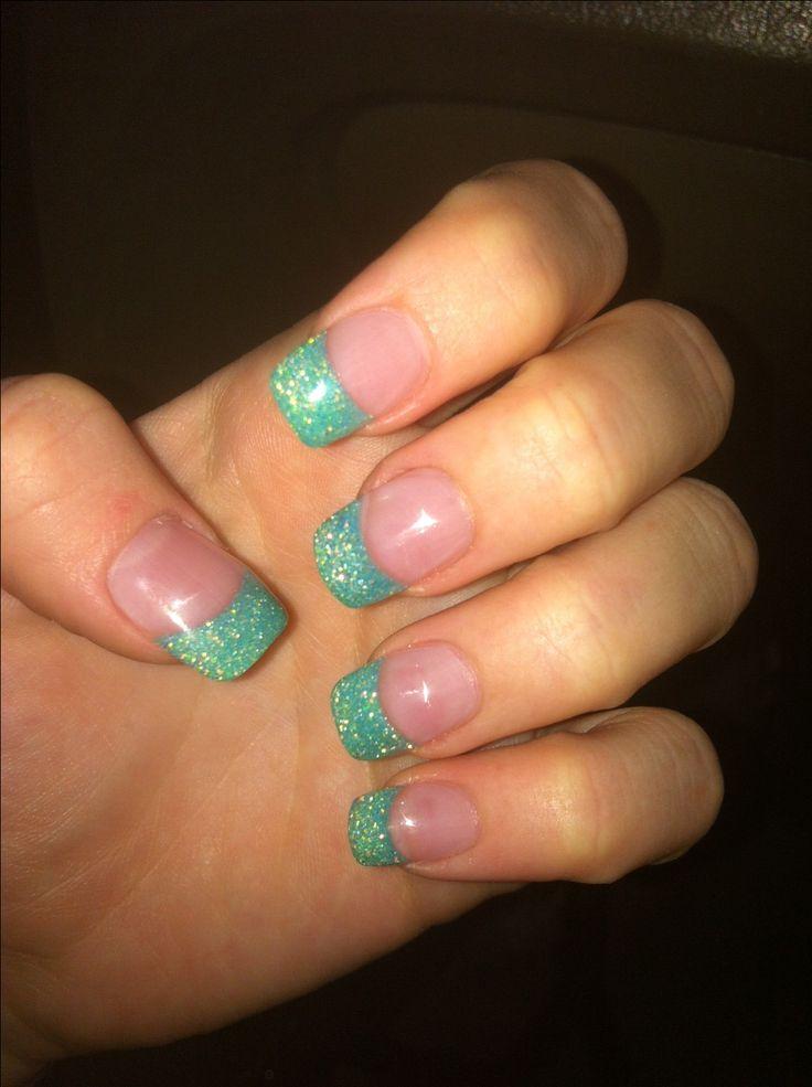 Sea foam green glitter solar nails