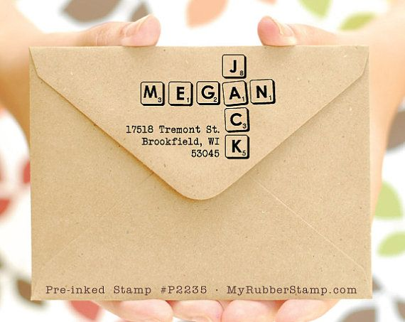 Scrabble Stamp Personalised Pre Inked Address Custom Wedding DIY Invitation For Newlywed Couple