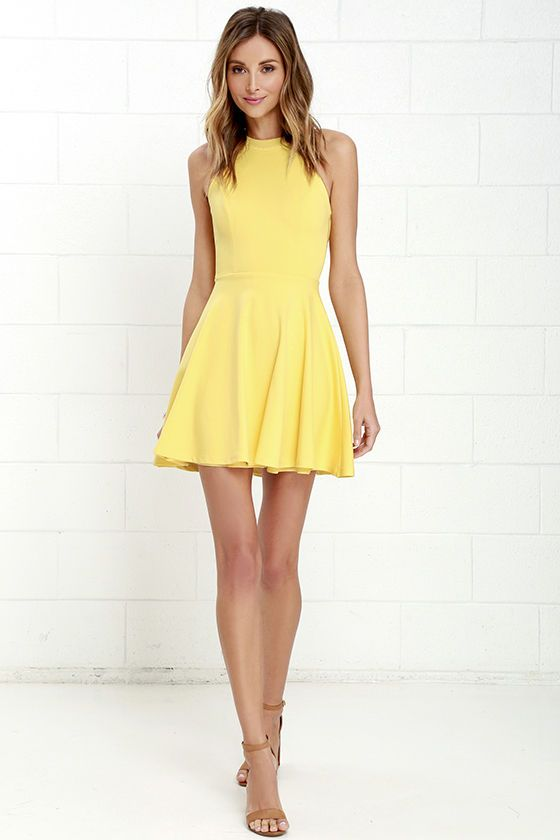 Delightful Surprise Yellow Skater Dress at Lulus.com!