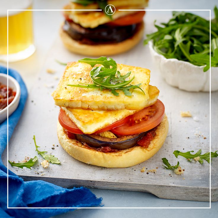 Eggplant & Haloumi Burgers  #summerrecipes #easyrecipes #Mediterranean #cheese #Lemnos