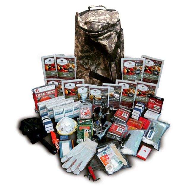 The 2 Week Emergency Survival & First Aid Kit comes in a convenient camo style duffle bag on wheels. It is packed with supplies that will last 2 weeks for 1 person or 1 week for 2 people. This kit has food and water. #survival #preparedness #safetykitsplus #beprepared #travelsafe #adventure #camogear