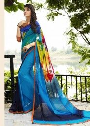 Casual Wear  Georgette Sky Blue Printed Saree