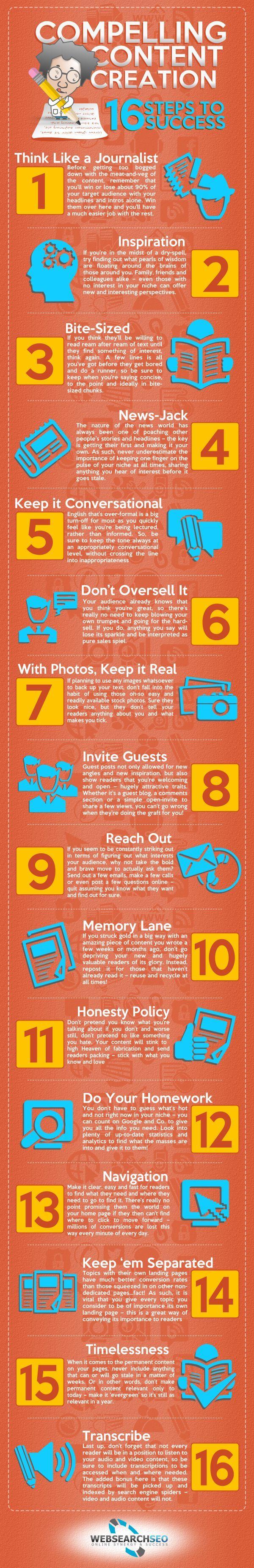 16 steps to successful content #marketing #success #Infographic www.socialmediamamma.com