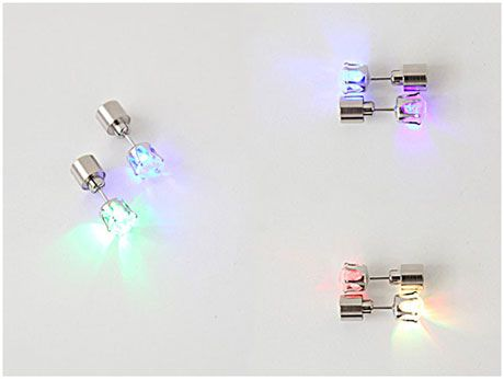Night Ice Multi-Color Flashing LED Earrings http://attention-getting.com
