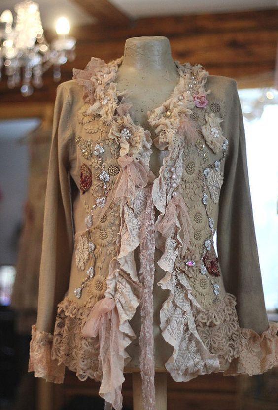 Winter baroque cardi bohemian romantic altered couture