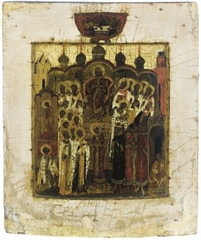 THE FIRST ECUMENICAL COUNCIL  UNTAMPERED RUSSIAN ICONS, 16TH CENTURY  THIS IS HOW THE EARLIER ICONS DEPICTED THE COUNCIL OF NICEA OF 325