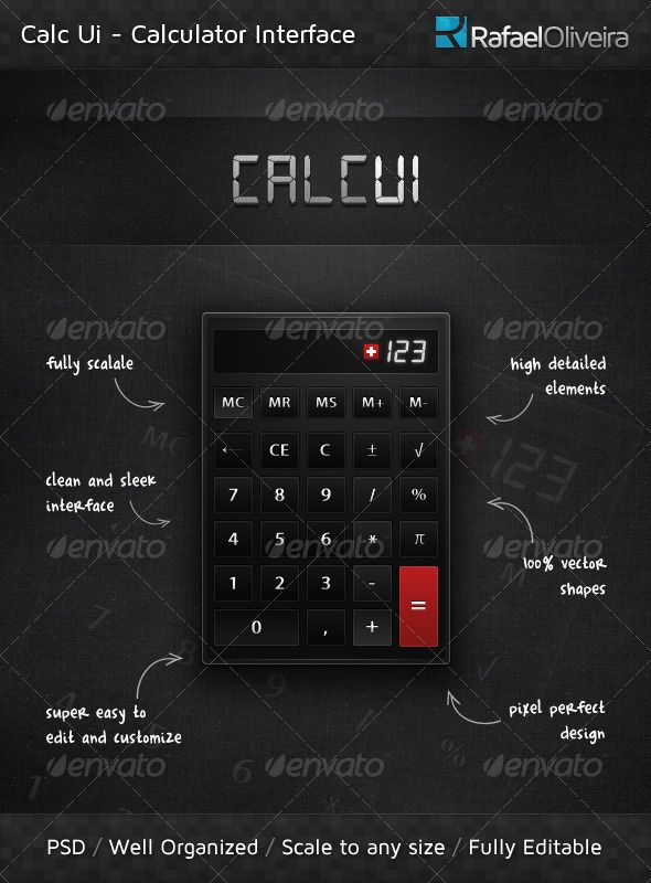 Calc Ui  #GraphicRiver         here, or replace with other Sans-serif font.  	   Need Help? I'm here to provide full support to this item, If you have any question, suggestion or need any assistance, just contact me and I'll get back to you as soon as possible. All you need to do is drop me a line: Send me an email | Follow me on Twitter | Visit my website Like what you see? Hire me! I'm professional graphic designer with great experience and available for freelance.  If you need a custom…