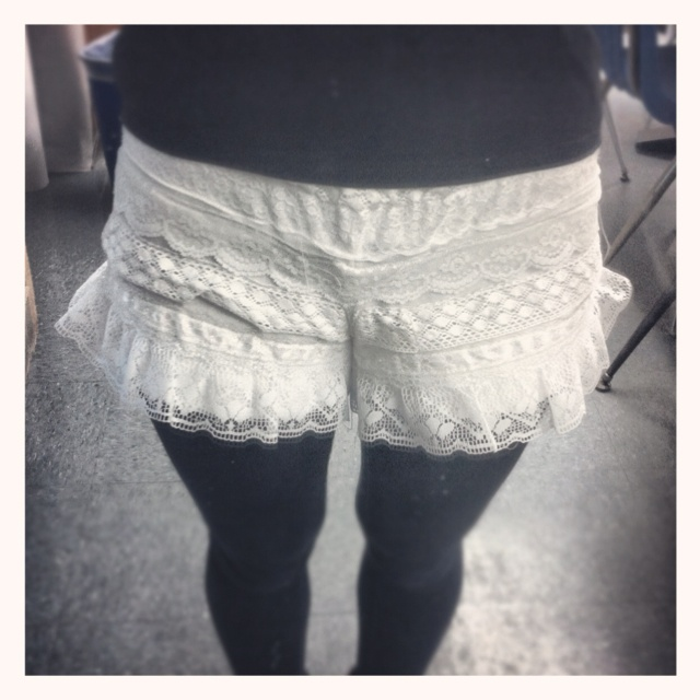 Lace shorts.  I made these todayy!!! :)