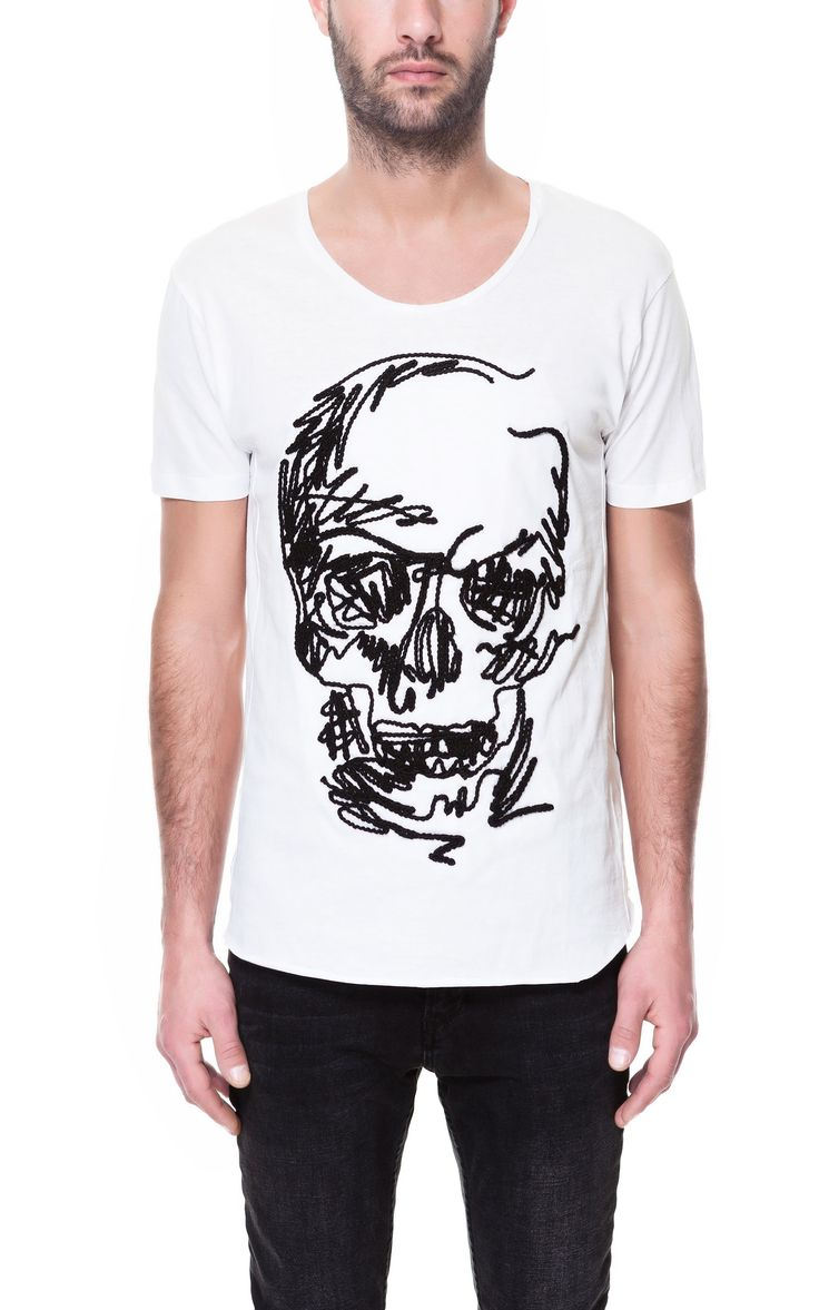 Zara black t shirt india - Skull T Shirt T Shirts Man Zara Singapore