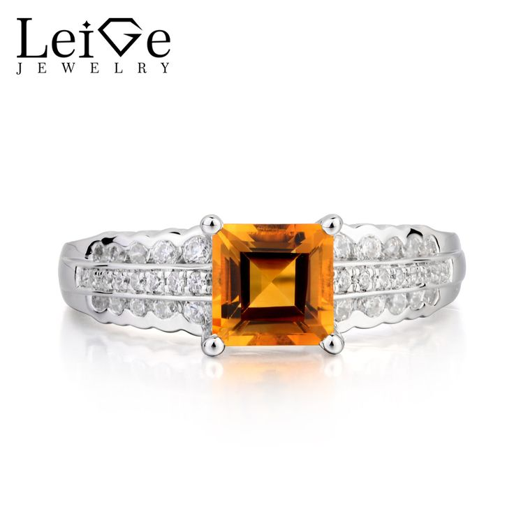 Cheap Rings, Buy Directly from China Suppliers:Leige Jewelry Natural Citrine Ring Citrine Engagement Ring Princess Cut Yellow Gemstone 925 Sterling Silver Gifts for Women