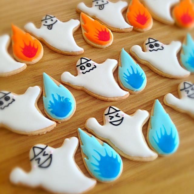 オバケと火の玉のアイシングクッキーを作りました‼ 火の玉、びみょ~ですがf^_^; - 15件のもぐもぐ - オバケ&火の玉♡アイシングクッキー by soramina