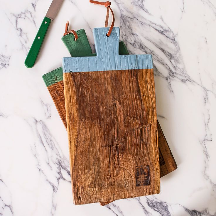 Make for an Artful Abode with our teak wood chopping board with a hand painted handle. Win your dream Wedding Wishlist with our #NotAnotherWeddingPresent Pinterest Competition #weddinggift #weddings