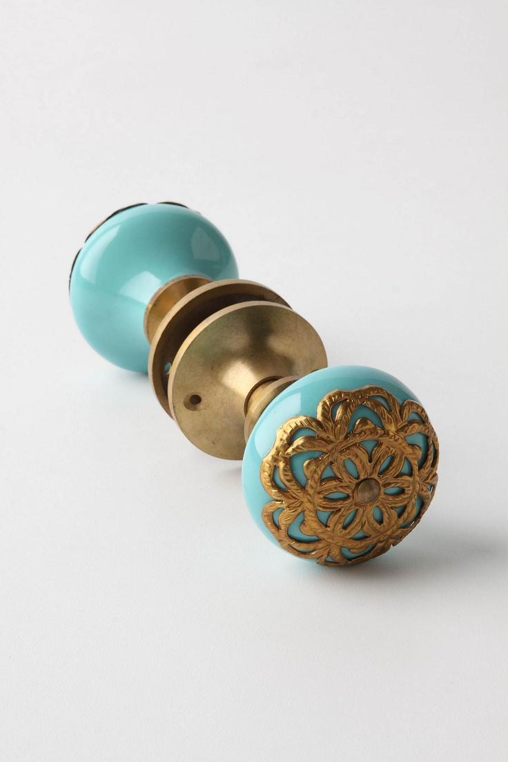 38 best knobs pulls hooks images on pinterest drawer for Turquoise door knobs
