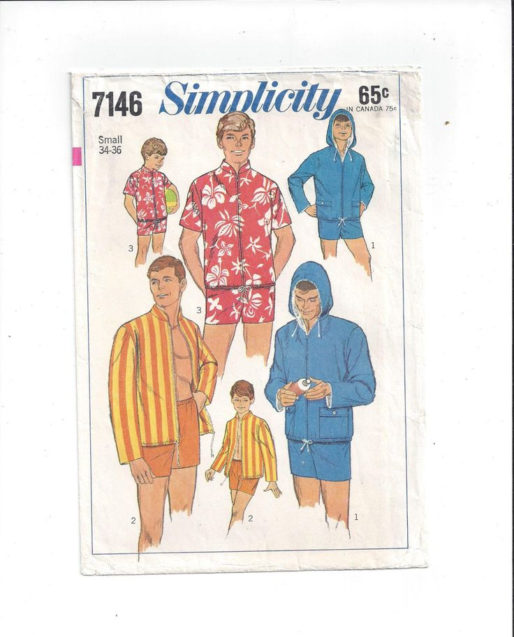 Simplicity 7146 Pattern for Men's Swim Shorts & Jacket, Size Small 34-36, From 1967, Vintage Pattern, Home Sewing, 1967 Men's Fashion by VictorianWardrobe on Etsy