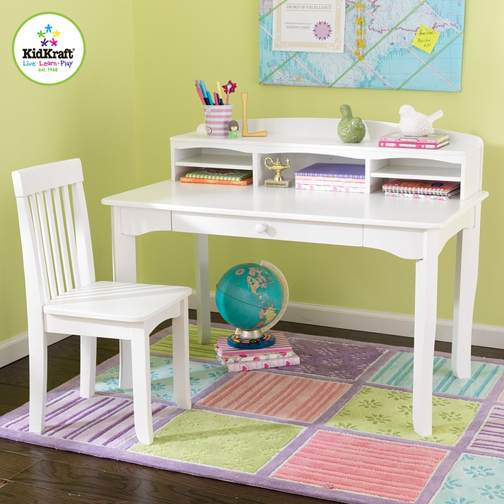 Ideal For Doing Homework, Individual Projects, Or Studying This Avalon Desk  With Hutch And Chair From KidKraft In White ...
