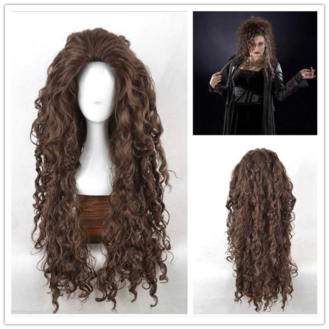 High Quality Long Brown Wavy Bellatrix Lestrange Wig Harry Potter Synthetic Hair Anime Cosplay Wig Cos Wigs