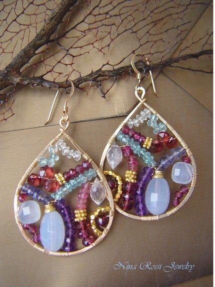 Glistening Mosaic Earrings by Nina Rossi Jewelry