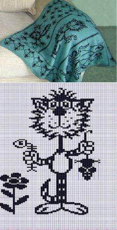 Какие есть простые схемы вязания узора кот, кошка крючком или спицами?