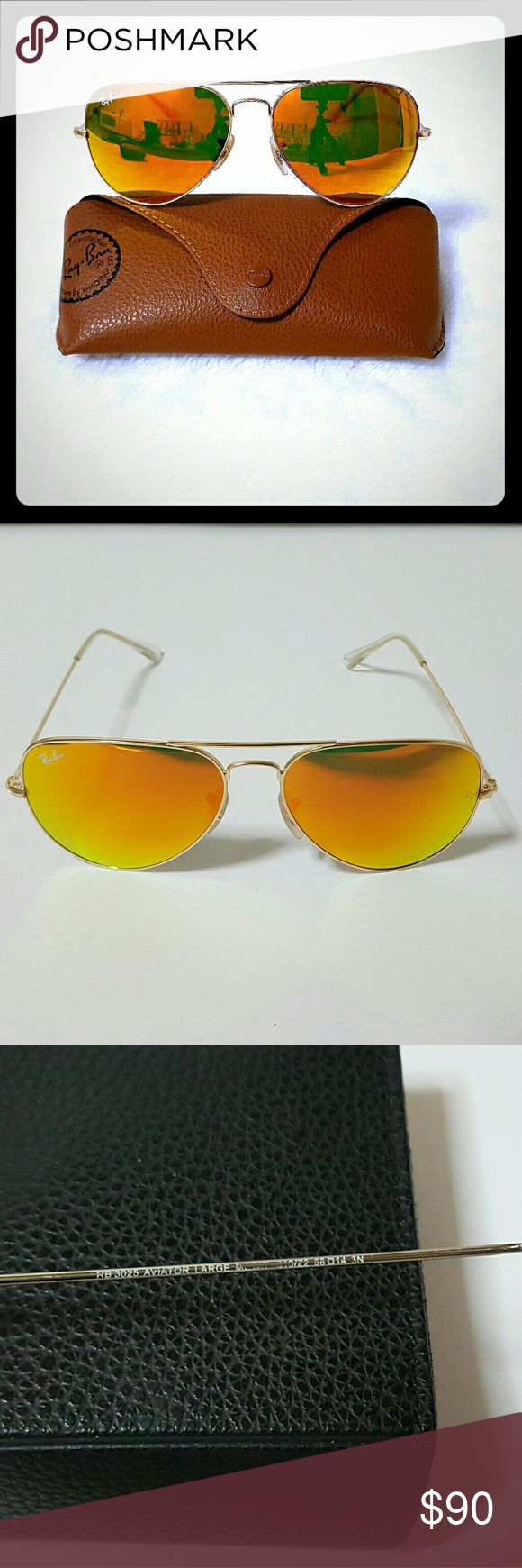 Ray-Ban 3025 Aviator Gold Frame Mercury Flash Lens In Excellent condition, has some Fading on inside of left leg, due to normal wear.. as seen 3rd picture. But cannot notice, especially when on face😎  Comes with original case, cleaning cloth. 🚫NO BOX  100% AUTHENTIC! Ray-Ban Accessories Sunglasses