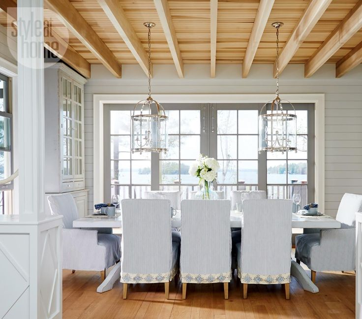 House Tour Neutral Nautical Lake Cottage Dining RoomsLiving