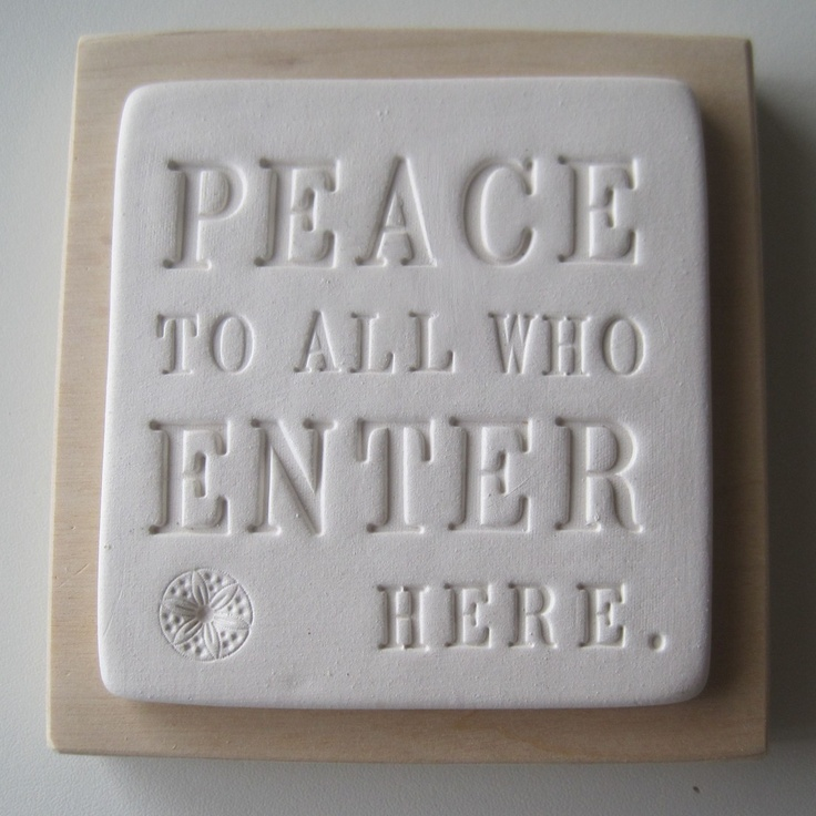 Peace to All Who Enter Here ceramic hanging wall plaque for entryway.