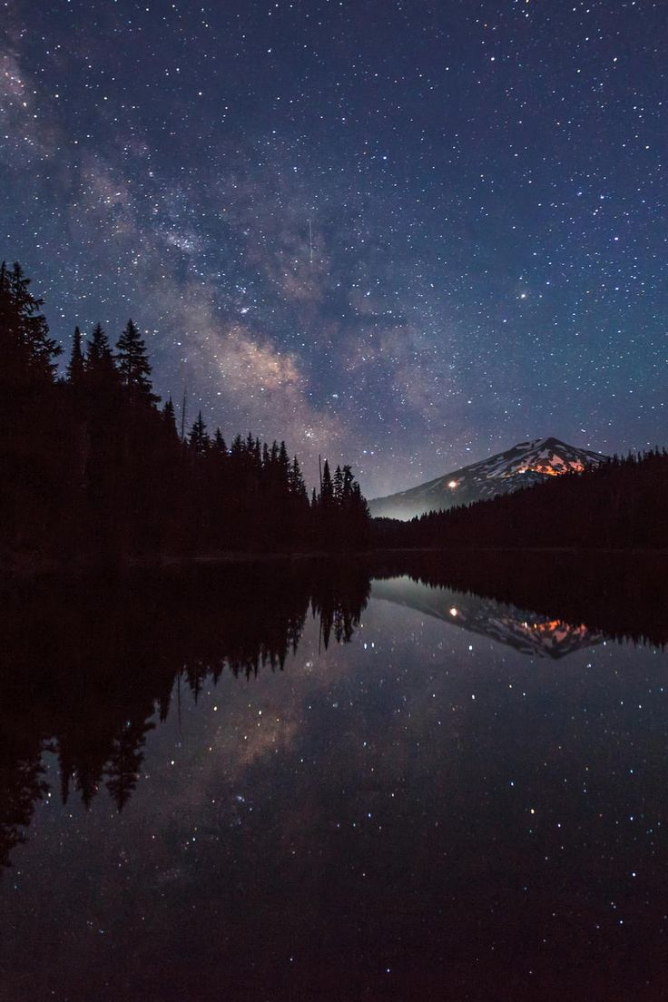 Milky Way Over Mt. Bachelor - The Milky Way lands in the parking lot of Mount…