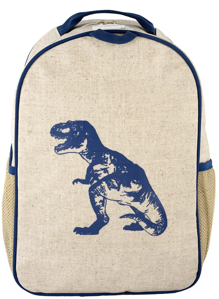 RAW LINEN - Blue Dino Toddler Backpack