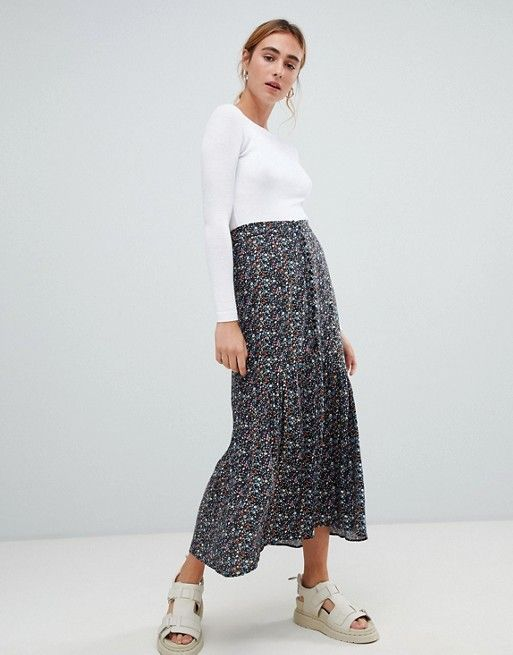 59e41d4847ad Pull bear button front midi skirt